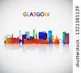 glasgow skyline silhouette in...   Shutterstock .eps vector #1321381139
