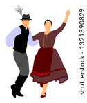 hungarian folk dancers couple... | Shutterstock .eps vector #1321390829