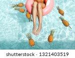 Girl Relaxing On Float Ring In...