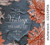 vintage floral printable... | Shutterstock .eps vector #132143936