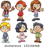 cartoon school kids. vector... | Shutterstock .eps vector #132146468