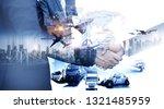 business people shaking hands ...   Shutterstock . vector #1321485959
