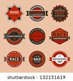 racing badges   vintage style ... | Shutterstock .eps vector #132151619