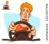 scared young man driving.... | Shutterstock .eps vector #1321547396