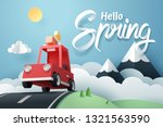 paper art of red car jumping on ... | Shutterstock .eps vector #1321563590