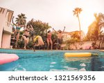 group of happy friends jumping... | Shutterstock . vector #1321569356