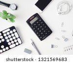 top view of office desk table... | Shutterstock . vector #1321569683