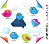 color birds set with corners... | Shutterstock .eps vector #132159476