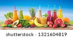 colorful freshly squeezed... | Shutterstock . vector #1321604819