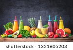 colorful freshly squeezed... | Shutterstock . vector #1321605203