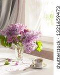 retro still life with a bouquet ... | Shutterstock . vector #1321659473