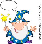 funny wizard waving with magic... | Shutterstock .eps vector #132166223