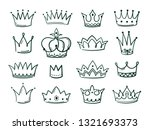 hand drawn crown. sketch crowns ... | Shutterstock .eps vector #1321693373