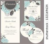 wedding invitation set  thank... | Shutterstock .eps vector #132169634