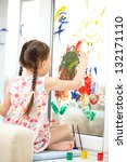 portrait of a cute cheerful... | Shutterstock . vector #132171110