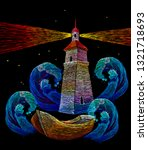 embroidery lighthouse  boat and ... | Shutterstock .eps vector #1321718693