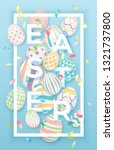 easter background with 3d... | Shutterstock .eps vector #1321737800