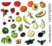 set of fruits and berries....   Shutterstock .eps vector #1321746353
