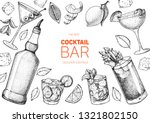 alcoholic cocktails hand drawn... | Shutterstock .eps vector #1321802150