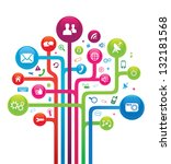 social media networks tree | Shutterstock .eps vector #132181568