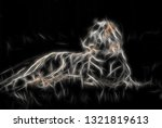 Lying Tiger In Fractaled...