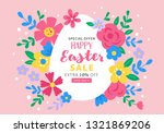 easter holiday cute sale banner ... | Shutterstock .eps vector #1321869206