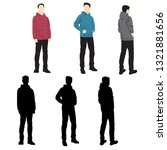 set of silhouettes man standing ... | Shutterstock .eps vector #1321881656