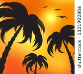 palm silhouettes and evening sky | Shutterstock .eps vector #1321902806