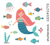 cartoon mermaid and fishes ... | Shutterstock .eps vector #1321911773