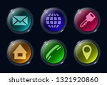 six colorful glass buttons ui...