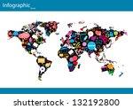 social network map background... | Shutterstock .eps vector #132192800