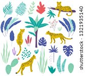 seamless pattern with leopards...   Shutterstock .eps vector #1321935140