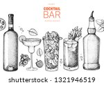 alcoholic cocktails hand drawn... | Shutterstock .eps vector #1321946519