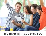excited group of friends... | Shutterstock . vector #1321957580