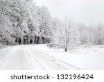 road in a snowy forest in winter   Shutterstock . vector #132196424