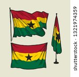 flag of ghana on the wind and...   Shutterstock .eps vector #1321974359