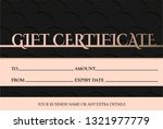 voucher template with pink gold ...   Shutterstock .eps vector #1321977779