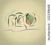 dslr camera illustration with... | Shutterstock .eps vector #132198668