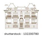 ocher drawing of the castle | Shutterstock .eps vector #132200780