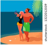 people on the beach. man and... | Shutterstock .eps vector #1322012039