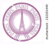 grunge rubber stamp paris theme ... | Shutterstock .eps vector #132201440