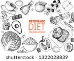 ketogenic diet hand drawn... | Shutterstock .eps vector #1322028839