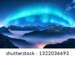 Aurora Borealis Above Mountains ...
