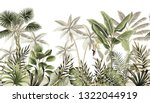 Stock vector tropical vintage botanical landscape palm tree banana tree plant floral seamless border white 1322044919