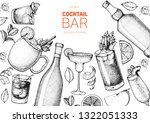 alcoholic cocktails hand drawn... | Shutterstock .eps vector #1322051333