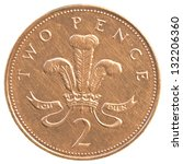 2 British Pennies Coin Isolate...