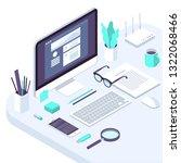 isometric busines office flat...   Shutterstock .eps vector #1322068466