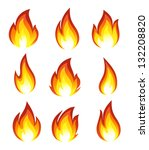 collection of fire icons | Shutterstock .eps vector #132208820