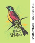 colorful bird spring poster or... | Shutterstock .eps vector #1322103113