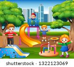 happy children playing in the... | Shutterstock .eps vector #1322123069